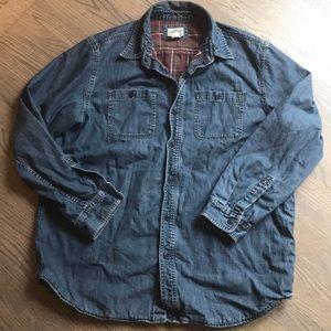 LL Bean Flannel Lined Denim Shirt